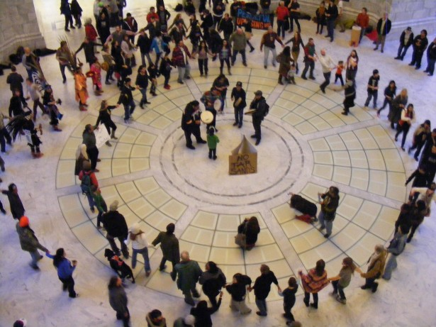 Utahns gather for a round dance flash mob organized by Idle No More at the capitol building in Salt Lake City last Thursday.