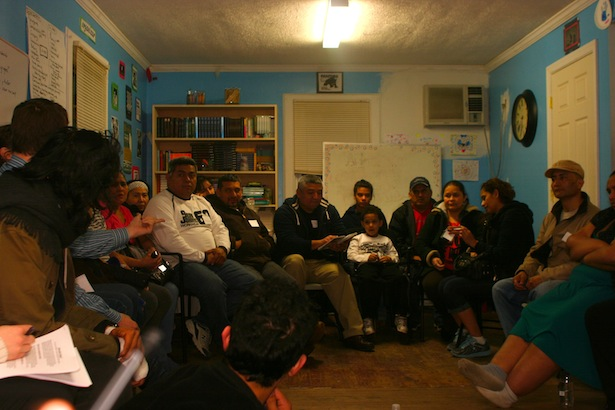 Community members gather for one of the early meetings about cooperatives. (Peter Rugh / WNV)