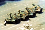 """Tank man"" blocks a column of tanks during the Tiananmen Square protests of 1989."