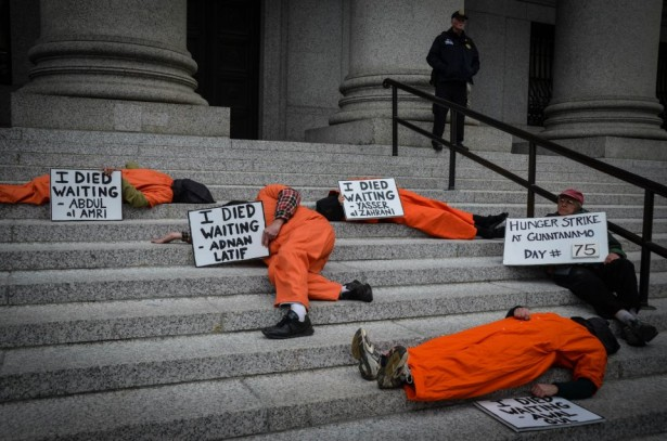 "Witness Against Torture activists during a ""die-in"" on the steps of the Federal Courthouse at Manhattan's Foley Square. (Witness Against Torture)"
