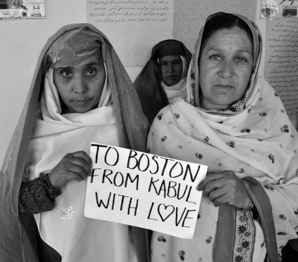 Women in Kabul, Afghanistan extend sympathy to Boston as part of a photo series by Principle Pictures.