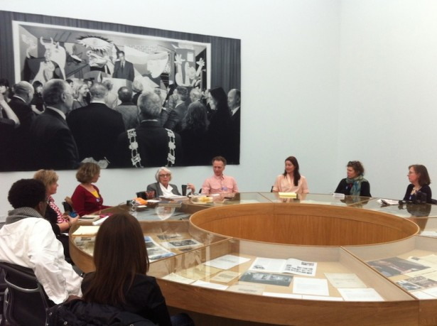 Author and activist Rosalie Riegle (center) speaking about nonviolent resistance at the Museum of Contemporary Art Chicago, on March 30. (WNV/Ken Butigan)