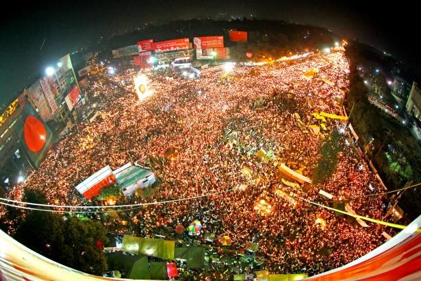 A candlelight vigil at Shahbag Square in Dhaka on February 14. (Wikimedia/Avijit Nandy)
