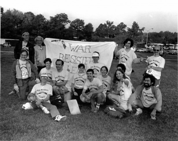 The War Resisters League Track Club tackles the Army Ten Miler in Wasington, D.C., circa 1988. (WNV/Murray Rosenblith)