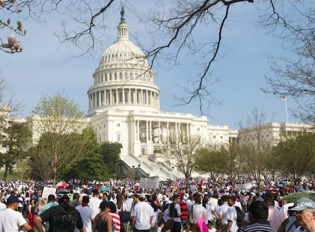 A large crowd gathered for a rally for immigration reform outside the U.S. Capitol on April 10. (WNV/Laurie Smolenski)