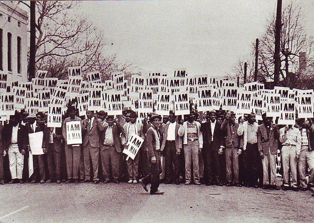 Sanitation workers on strike in Memphis, Tenn., in 1968. (Flickr/Tellmewhat2)