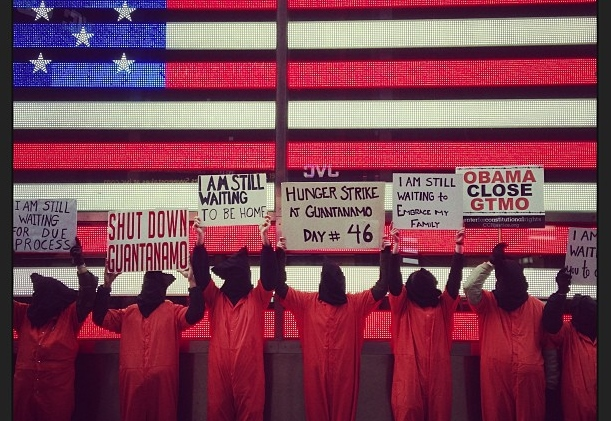 Protest outside the military recruiting center in Times Square. (Witness Against Torture)