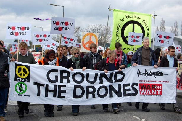A Stop the Drones protest to Royal Air Force Station Waddington in England on April 27, 2013. (Flickr/Sarah Baldwin)