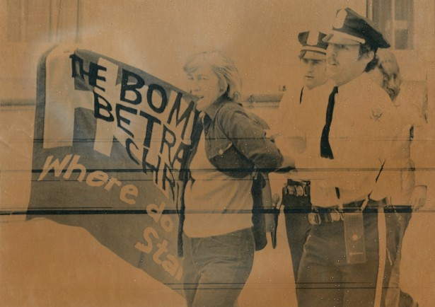 Liz McAlister being arrested at the White House in 1979. (Elmer Maas Plowshares Collection)