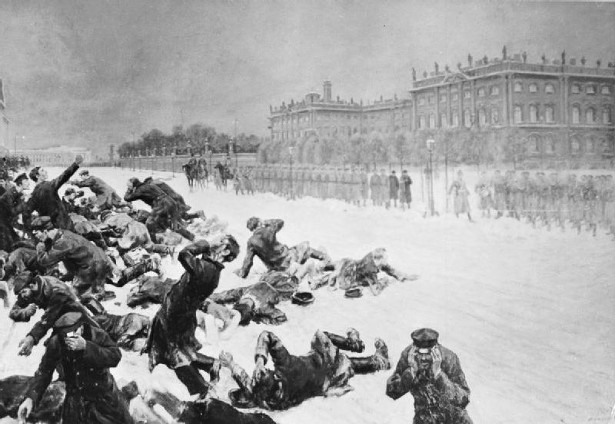 Drawing of Bloody Sunday in St. Petersburg, Russia, when unarmed demonstrators marching to present a petition to Nicholas II were shot at by the Imperial Guard in front of the Winter Palace on January 22, 1905. (Wikipedia)