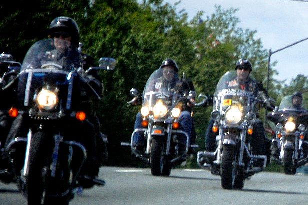 A biker gang on the road, photographed in 2008. (Flickr/Peachy Weasel)