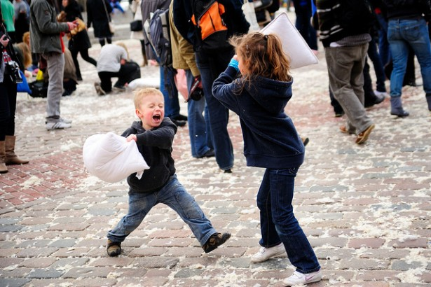 A public pillow fight in Warsaw. (Flickr/Kuba Bożanowski)