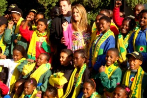 International celebrities John Travolta and Kelly Preston were in South Africa for the World Cup Opening ceremonies in 2010 and paid a visit to the Nelson Mandela Childrens Foundation where they gave a donation of R 70 000 to benefit children's projects. (Flickr/Jennifer Su)