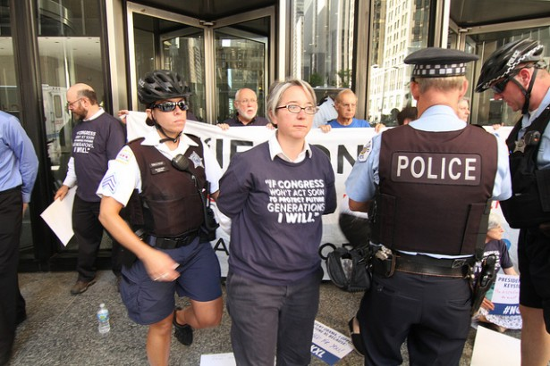 CREDO Mobile's political director Becky Bond was arrested today during a peaceful sit-in against the Keystone XL pipeline. (Flickr / Kira Mardikes)