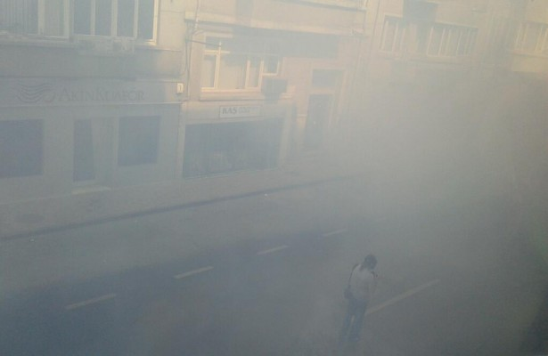 "@ekizilkaya: ""Police used tear gas near a labor union to stop #mayday demos reach Taksim Square. How much? This."" (Twitter/guventurks)"