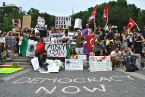 Turkish and Mexican demonstrators on the steps of Union Square in New York City on June 16. (WNV/Peter Rugh)