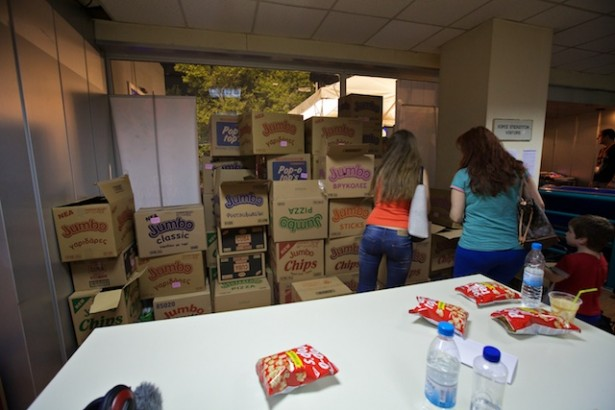 Boxes of snacks, donated by a snack food company as a show of solidarity, were left in ERT's foyer for the occupiers. (WNV/Kirsten Han)