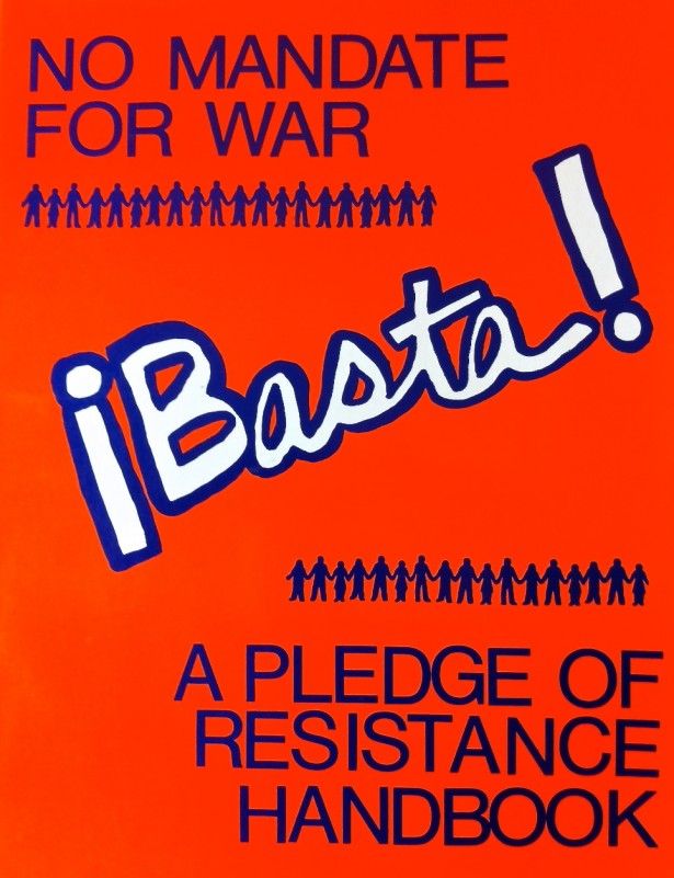 A booklet made by the organizers of the 1980s Pledge of Resistance. (WNV / Ken Butigan)