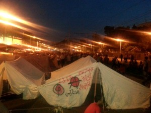 An anarchist tent in Tahrir Square. (WNV/Aazab)