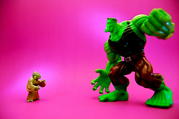 Yoda vs. the Hulk. (Flickr/JD Hancock)