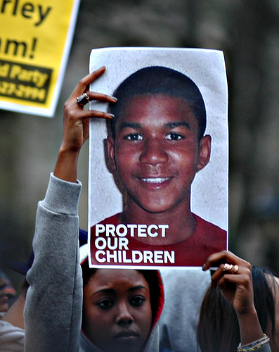 Sign held at a rally in New York City calling for justice after the death of Trayvon Martin in 2012. (Flickr/Michael Fleshman)