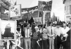 A demonstration in late 1987 in Bethlehem, marking what was then 20 years of Israeli military occupation, and including women in traditional hand-embroidered garb. (Hashomer Hatzair Archive)