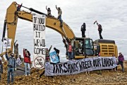 Climate justice activists stopped work at a planned tar sands strip mine in southeastern Utah last Monday. (Peaceful Uprising)