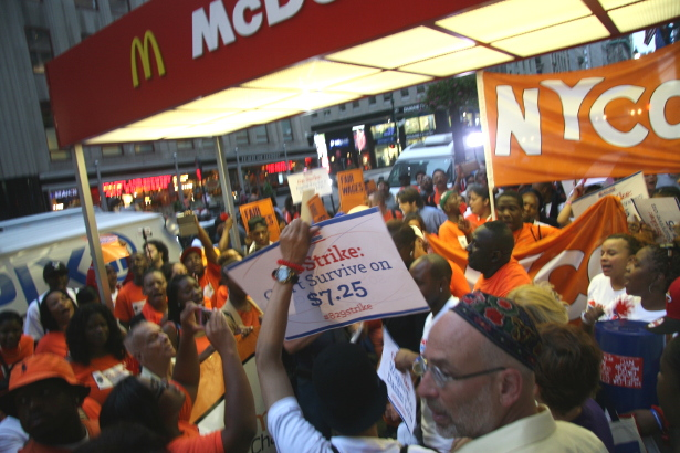Fast-food workers and their supporters rallied outside of McDonald's in the early hours of the morning Thursday in New York City, marking the start of a nationwide day of strikes. (WNV/Peter Rugh)