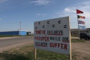 A sign outside Camp Zero Tolerance on the Pine Ridge Indian Reservation. (WNV / Suree Towfighnia)