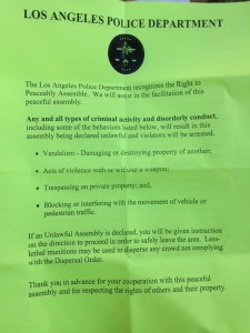 Flyer distributed by the LAPD in advance of Trayvon Martin protests. (Twitter/@LATvives)