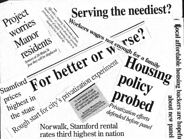 Clippings of newspaper headlines from the Fairfield County organizing campaign. (WNV/JaneMcAlevey)