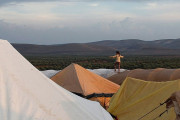 A child walks on top of a tent in a refugee camp in Atimeh on the Syrian-Turkish border on October 23, 2012. (Freedom House/Asmaa Waguih)