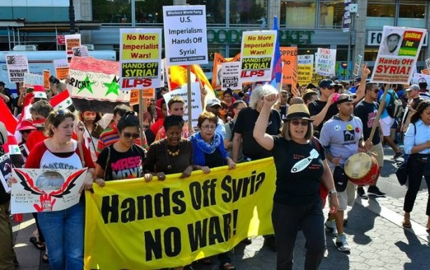 A protest against U.S. military intervention in Syria in New York City on September 10. (Flickr/Kenny Vena)