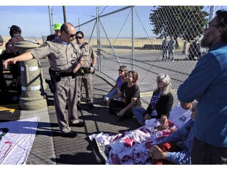 """Beale 5"" sentenced this week for engaging in nonviolent civil resistance last year protesting drones at Beale Air Force Base outside Sacramento, Calif. (WNV/Occupy Sacramento)"