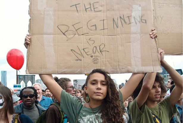 An Occupy Wall Street marcher in October 2011. (OccupyWallSt.org/Rebecca Manski)