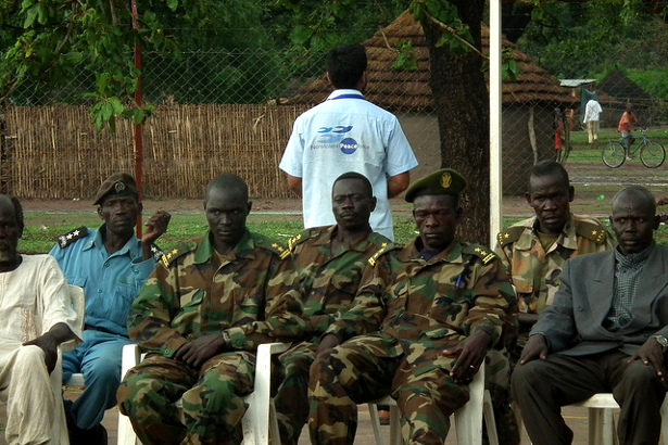 A Nonviolent Peaceforce worker at a community meeting in Sudan in June 2011. (Flickr/Nonviolent Peaceforce)