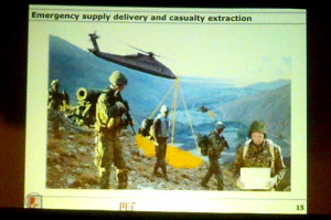 Slide from a talk at the Drones and Aerial Robotics Conference featuring an imagined drone helicopter evacuating a wounded soldier. (WNV/Ingrid Burrington)