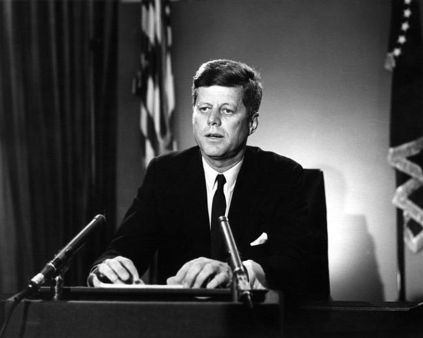 President Kennedy delivers radio and television address on the Limited Nuclear Test Ban Treaty from the Oval Office on July 26, 1963. (Wikimedia Commons/John F. Kennedy Presidential Library and Museum, Boston)