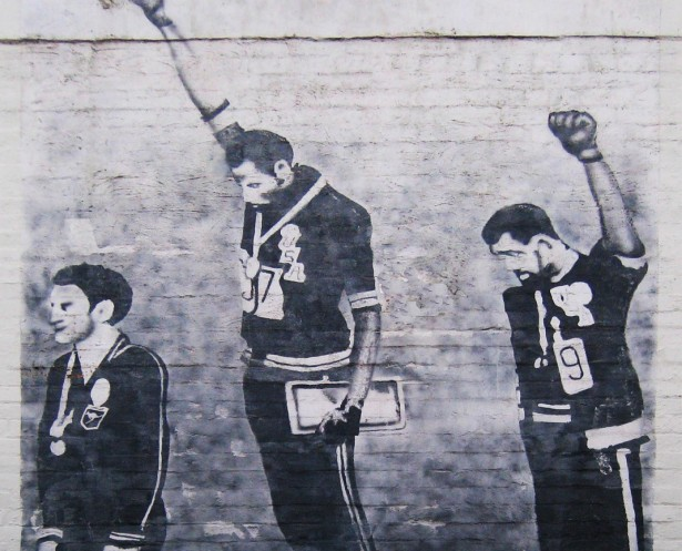 A mural of the 1968 Olympics Black Power salute in Sydney, Australia (Wikipedia)