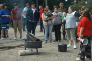 A community meeting at the encampment in Rexton, New Brunswick. (WNV / Carolyn Gray)