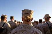Men and women marines stand in formation at Camp Delaram in Helmand province, Afghanistan. (Paula Bronstein/Getty Images)