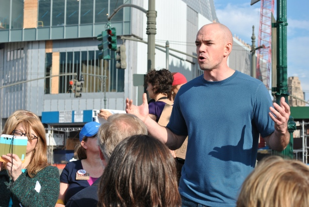 Tim DeChristopher addesses a crowd of climate activists, gathered to protest the Spectra pipeline in New York. (WNV / Peter Rugh)