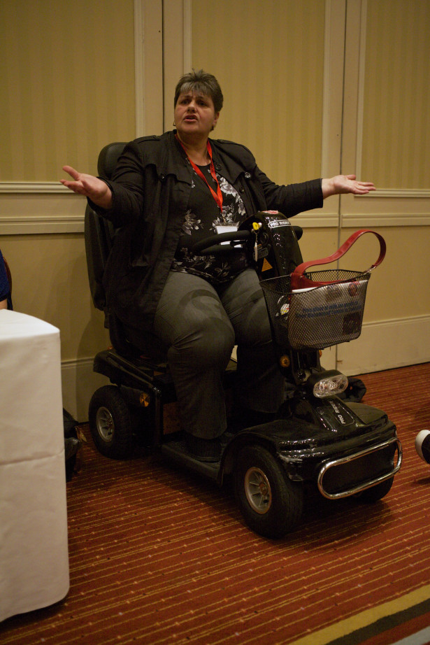 Disability activist Susan Archibald speaks at a workshop on poverty in Scotland. (WNV/Kirsten Han)