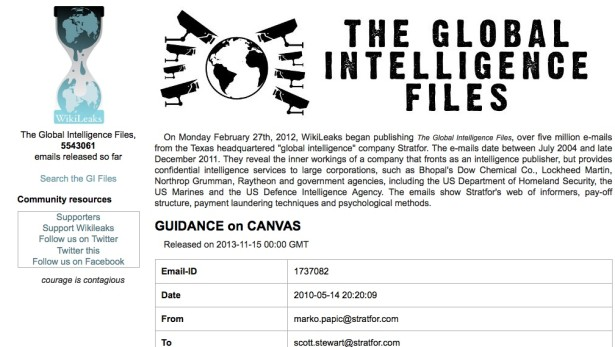 Screen shot of Wikileaks' Global Intelligence Files.)