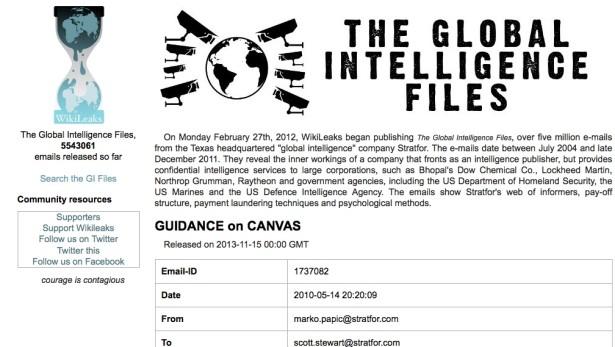 Screen shot of Wikileaks' Global Intelligence Files.)