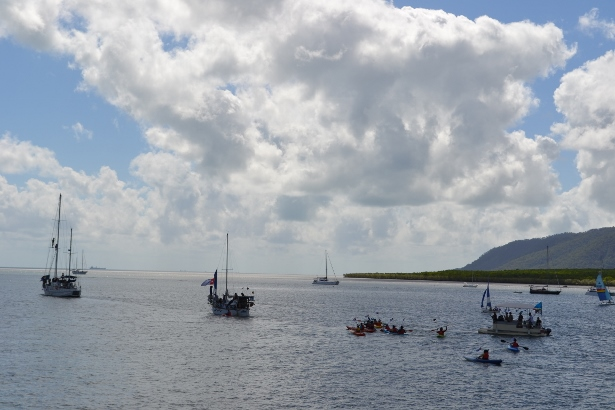 The Pog and Trudy departing Cairns on August 17, 2013. (WNV/West Papua Freedom Flotilla collection)