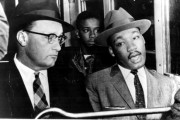 Glenn Smiley and Martin Luther King, Jr. rode the first bus after the bus boycott in Montgomery ended.