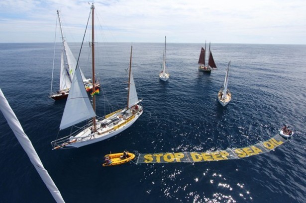 Greenpeace protest near New Zealand in November. (Greenpeace)