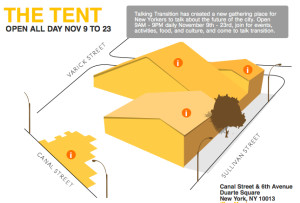 """Diagram of the """"tent"""" for Talking Transition in New York City. (SolarOne)"""