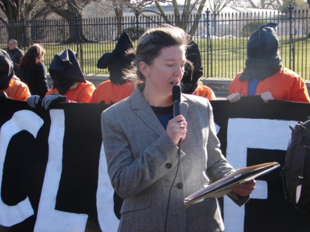 Frida Berrigan speaking at an anti-torture demonstration outside the White House in January 2010. (Facebook / Pax Christi)